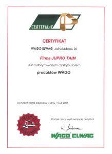 certyfikat od autoryzowanego dystrybutora, firmy WAGO ELWAG