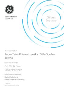 Certyfikat Silver Partner GE Oil & Gas