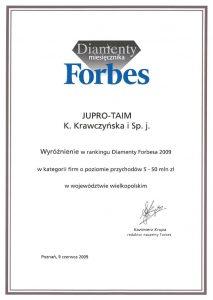 Dyplom od Diamenty Forbsa jako Najlepsza firmaw Wielkopolsce.
